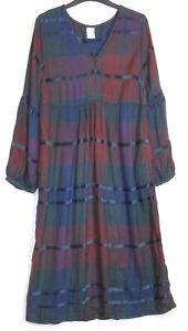 Marks-amp-Spencer-Blue-Checked-Longline-Skater-Midi-Dress-Uk-Size-6-22