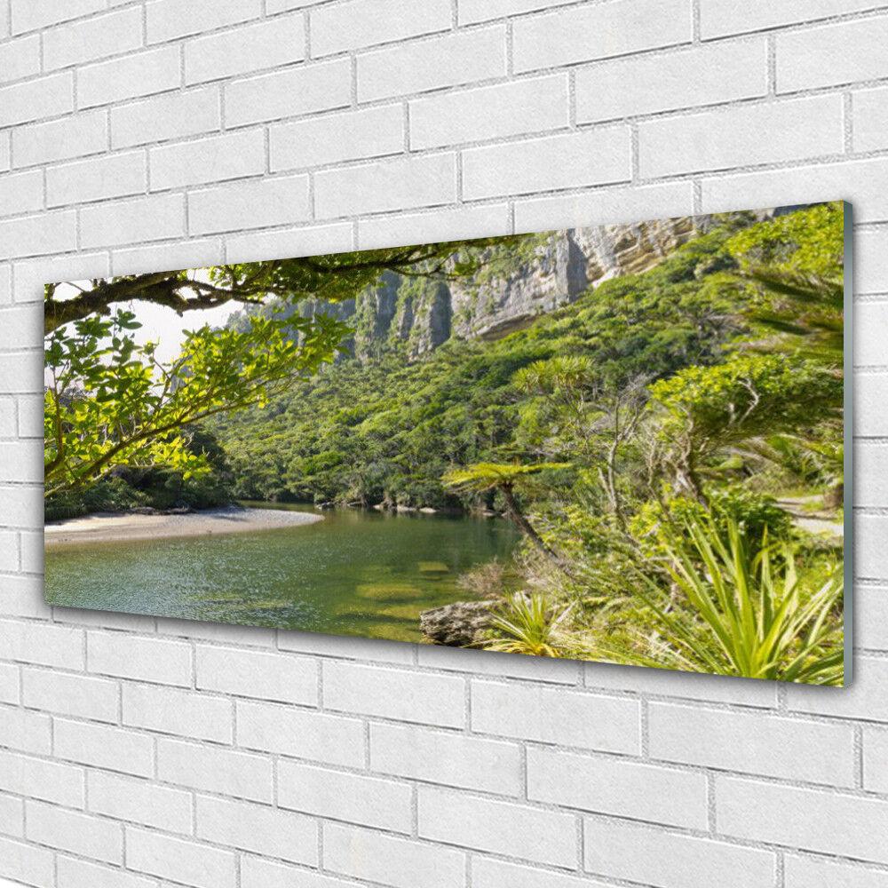Tableau murale Impression sous verre 125x50 Nature Lac