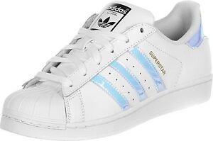 c37ae36876 Das Bild wird geladen adidas-Superstar-J-W-Lo-Sneaker-Schuhe-weiss-silber