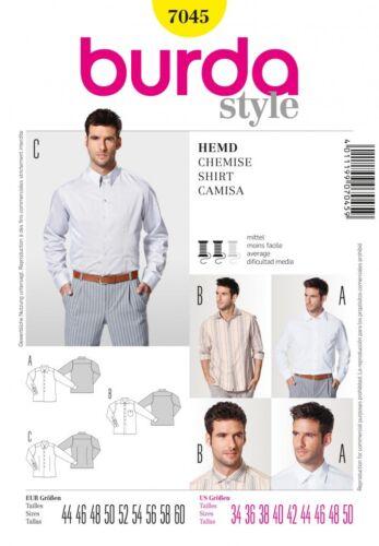 Burda - 7045 Burda para Hombre Patrón De Costura 7045 camisas mangas largas inteligente