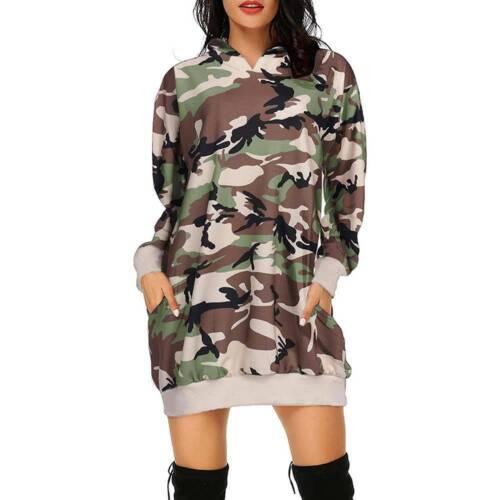 Ladies Womens Hoodies Hooded Sweatshirt Long Sleeve Pullover Jumper Mini Dress