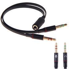 Audio Splitter Kabel Schwarz Y Adapter Kopfhörer Headset 3.5mm Klinke Computer