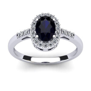14K-WHITE-GOLD-1-12CT-SAPPHIRE-AND-DIAMOND-HALO-RING-SIZE-7-8-9
