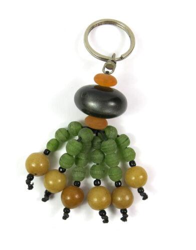 ein Schlüsselanhänger Perlen Glas Grün Gelb Braun Taschenanhänger Anhänger NEU