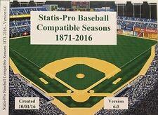 BJY Shipped CD 160+ MLB Statis-Pro Baseball compatible seasons 1871-2016