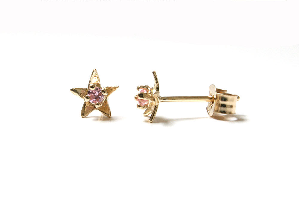 9ct gold Tiny Pink CZ Star Stud Earrings Gift Boxed Studs Made in UK Birthday