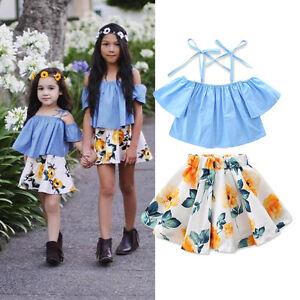 Toddler Kids Baby Girl Off Shoulder Denim Tops Floral Skirt Dress ... 108f3d6a58c7