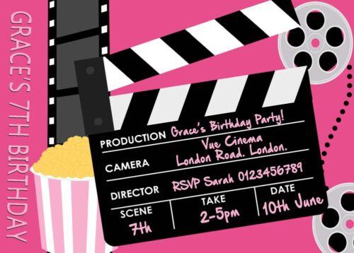 12 x Personalised Cinema Invites Birthday Party Invitations D Envelopes