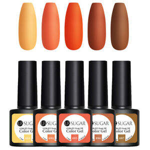 UR-SUGAR-5-Bottles-7-5ml-Nagel-Gellack-Soak-off-Gel-UV-Nagellack-Orange-Kit