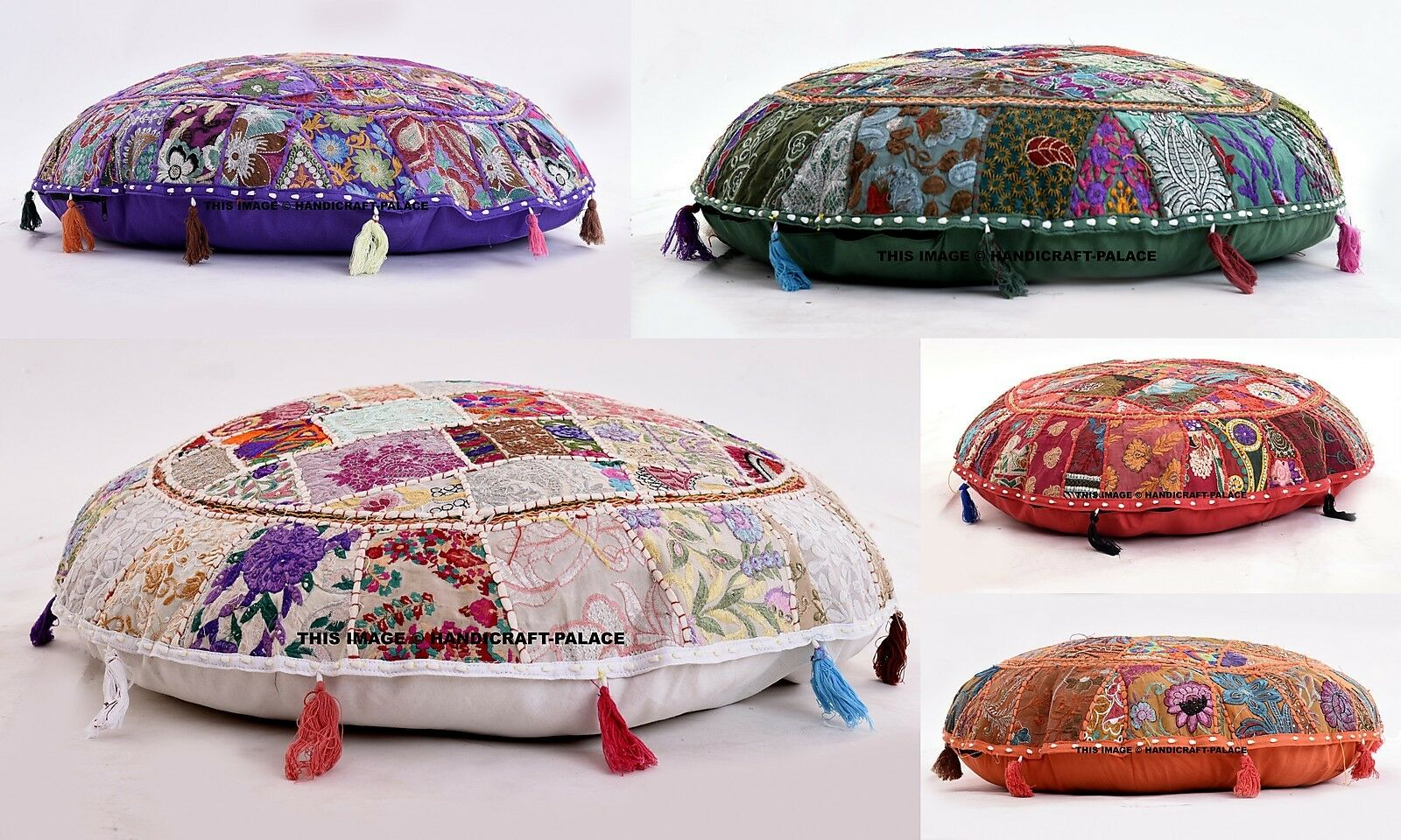 5 Pc Lot Indian Handmade Floor Round Decorative Pillow Vintage Patchwork Coussin