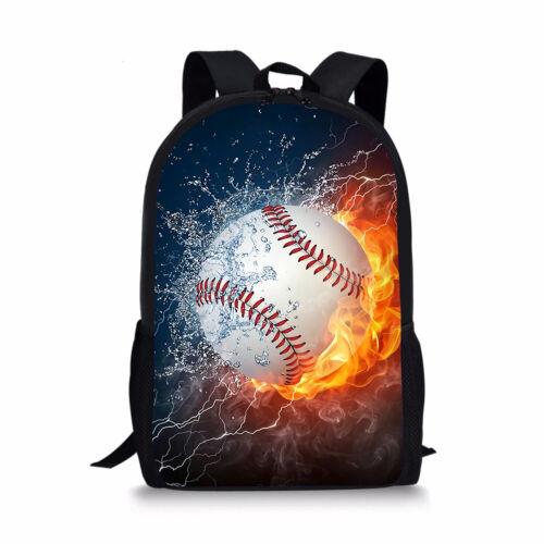 Cool Baseball Print Boys School Backpack Teens Travel Rucksack Book Bag 17 Inch