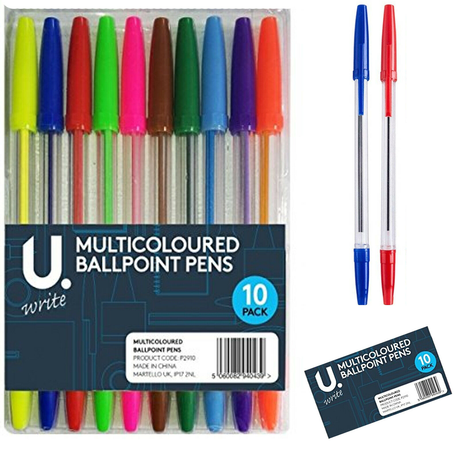 Ballpoint Colour Stationery Pack of 10 Multicoloured Ball Pens