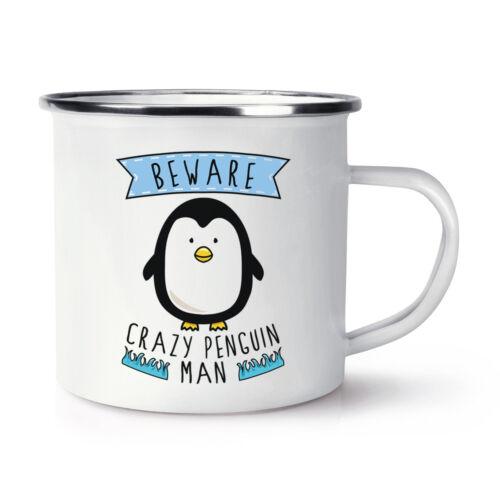 Funny Animal Camping Beware Crazy Penguin Man Retro Enamel Mug Cup