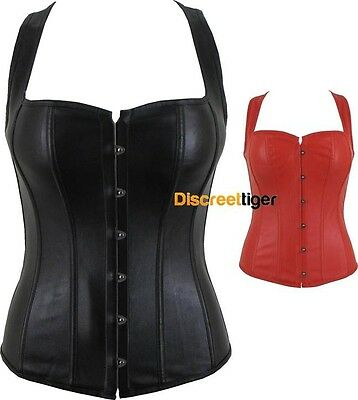 New Corset Overbust Racerback Sweetheart Top Straps Soft Faux Leather Steampunk