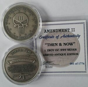 1-oz-999-Silver-Punisher-antiqued-coin-second-amendment-ar15-musket-NEW-Rare