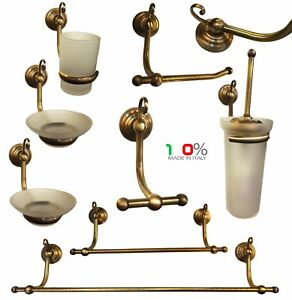 Accessori Bagno Ottone Brunito.Details About Series Set Kit Accessories Bathroom Brass Bronze Curly Made In Italy Show Original Title