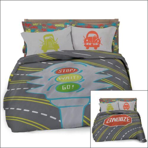 Full Queen Transportation Reversible Duvet Cover with 2 Pillowcases for Kids