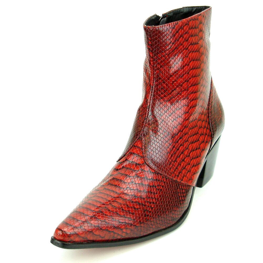 Bota de impresión de serpiente rojo FI-7240 con cremallera lateral fiesso por Aurelio Garcia