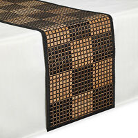 Bamboo Black Table Runner 54 Inches Checkered Kitchen Linen Dining Room Decor