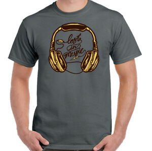 Lost In Music Mens Funny Headphones T-Shirt Dance Rock Pop Retro 80/'s 90/'s Decks