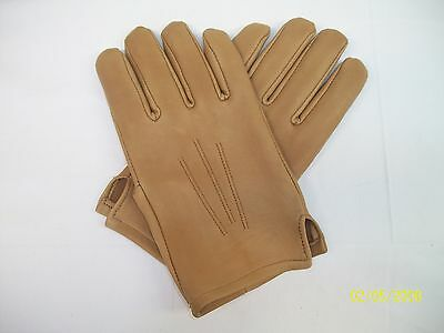 MEN'S TAN TOP GRAIN LEATHER GLOVES ....   MADE IN THE USA