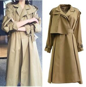 Womens Belted Long Trench Coat Casual Parka Windbreaker Jacket Khaki Duster New