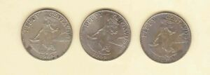 Philippines-50-centavos-Lady-with-Hammer-1964-3-coins-Uncirculated-Toned-dart