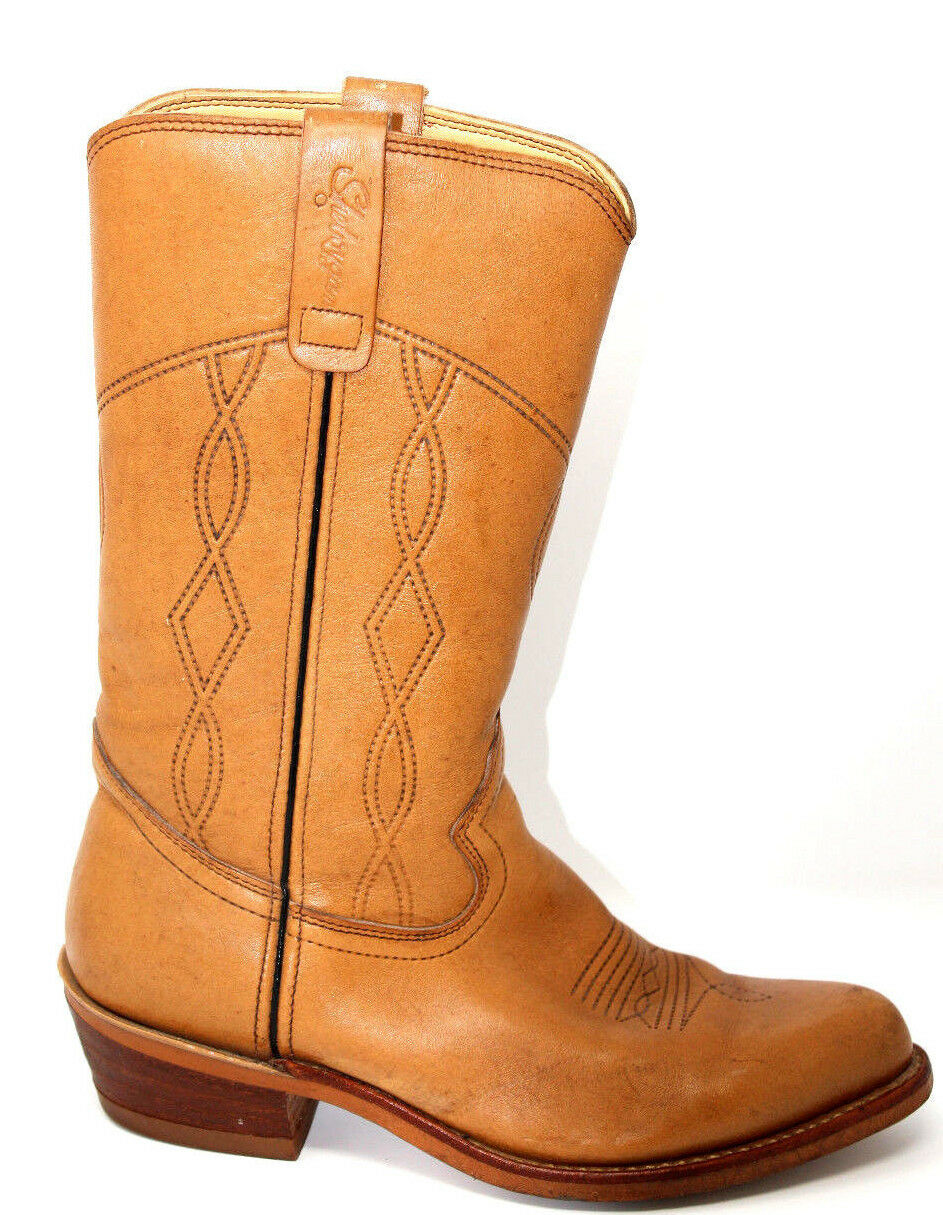 Sheboygan Vintage Boots Mid Calf Cowboy Brown Leather Boots Made in USA 8 M