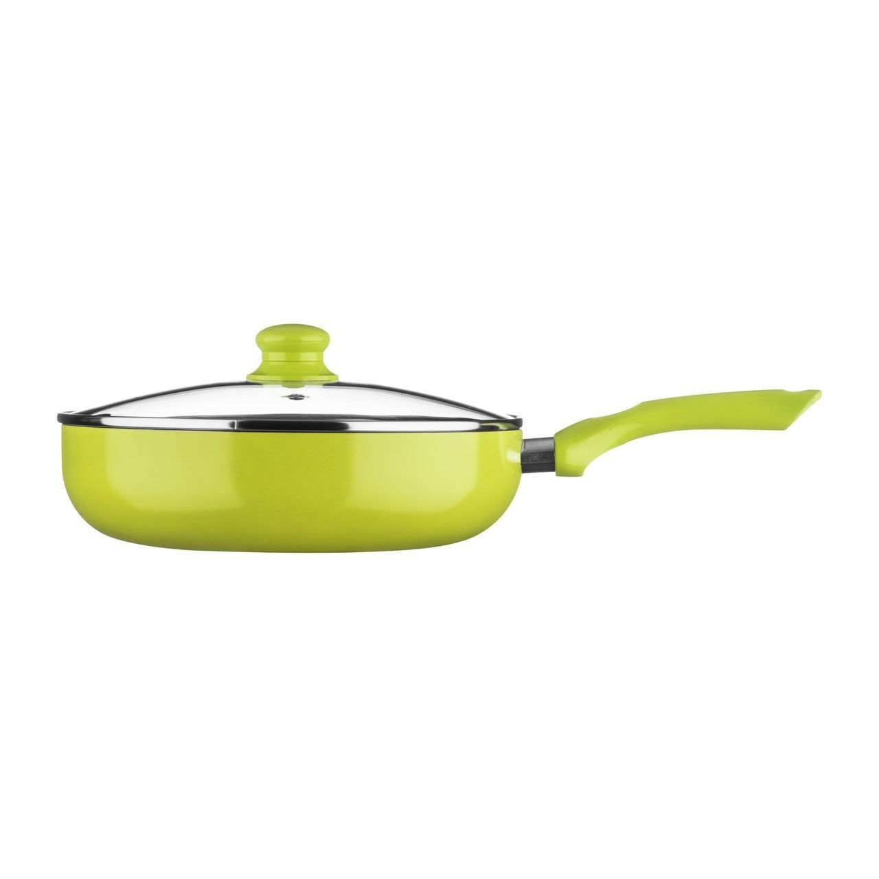 Ecocook Frypan 28cm Lime Green  White Ceramic Coating With Glass Lid