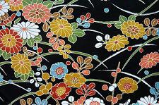 "Black Green Pink Kiku Shiba Floral Vintage Japanese Kimono Wool Quilt Fabric 59"""