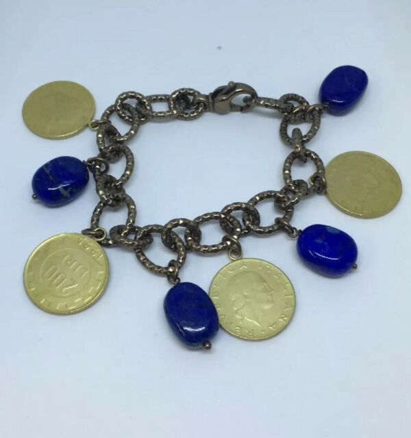 "QVC Rare Bronzo Italia Lapis Lazuli Bead And 200 Lire Coin 7.5"" Dangle Bracelet"