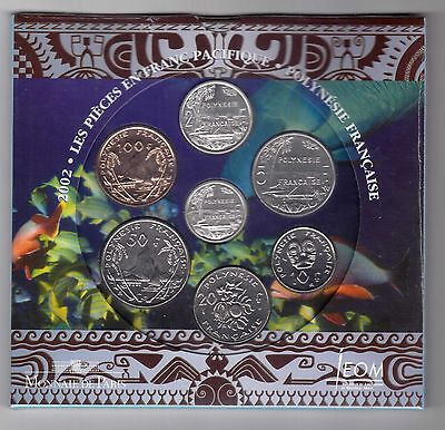 FRENCH POLYNESIA BANK ISSUE 7 DIF COINS SET 1 - 100 FRANCS 2002 YEAR MINT FOLDER
