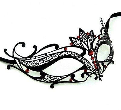 Strass luxus HALBSCHUHE Metall filigran Maskerade Maske Verona rot Steine