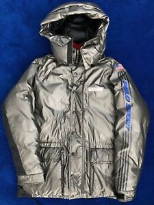 36c6453fe9f88 Image is loading Vintage-Polo-Sport-Down-Puffer-Jacket-Metallic-Silver-