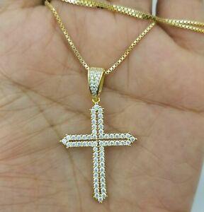 Women-14k-Yellow-Gold-Sterling-Silver-Round-Diamond-Cross-Pendant-Necklace