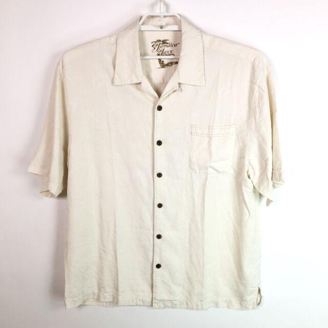 Jamaica Jaxx Mens Hawaiian Button Shirt 100% Silk Ivory Size XL