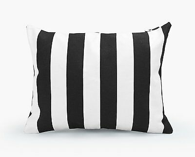 Decorative Rectangle Throw Pillow Cover Black and White Stripe Toss Cushion Case