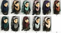 Black Lace Plain Maxi Scarf Hijab Shawl