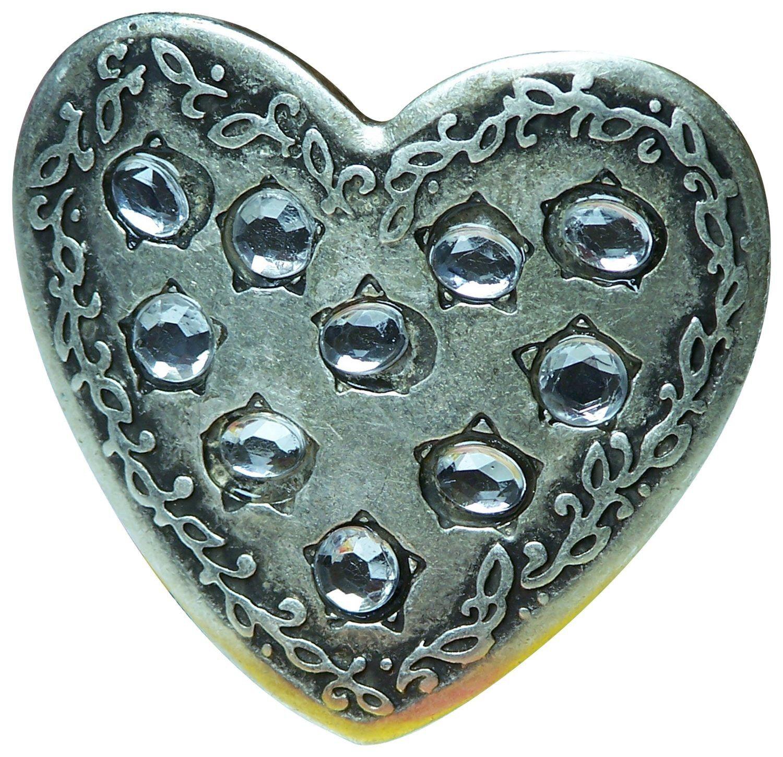 FRONHOFER Heart belt buckle, rhinestone heart buckle, antique silver buckle
