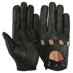 5537b7ad97c65 Image is loading Driving-Gloves-Car-Motorcycle-Bikers-Genuine-Leather -Police-
