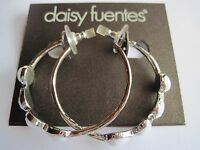 Daisy Fuentes Silver Tone Open Hoop White Bead Earrings, Free S&h