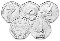 FIVE Beatrix Potter 50p Coins Jemima Puddle-Duck, Peter Rabbit, Squirrel Nutkin