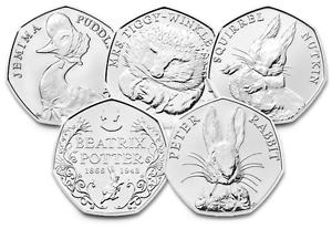 Beatrix Potter 50p Coins Jemima Puddle-Duck, Peter Rabbit, Squirrel Nutkin