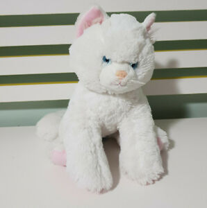 BUILD-A-BEAR-WHITE-CAT-TEDDY-STUFFED-ANIMAL-30CM-LONG-WHITE-TOY-CAT-BLUE-EYES
