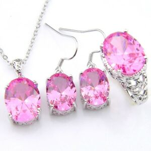 New-Oval-Fire-Pink-Topaz-925-Silver-Earrings-Ring-Pendants-Necklace-Jewelry-Sets