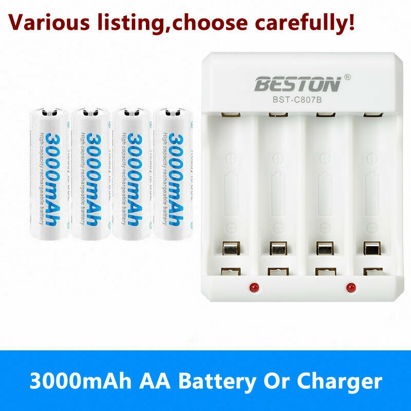 3000mah AA Rechargeable Batteries 1.2V NI-MH or charger For controls Flashlight