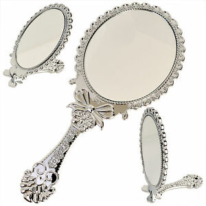 Small vintage style silver hand held vanity makeup mirror for Small silver mirror