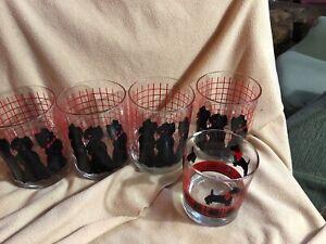 Dept-56-Set-4-Drinking-Glasses-Terrier-Scotty-Scottie-Dog-Rock-4-25x3-amp-1-3