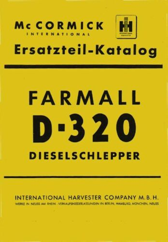 Ersatzteilkatalog D-320 Mc Cormick IHC D-Serie