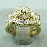 18K Yellow Gold Filled 4.6CT CZ Women Promise Wedding Band Ring Set R5584 Sz5-10